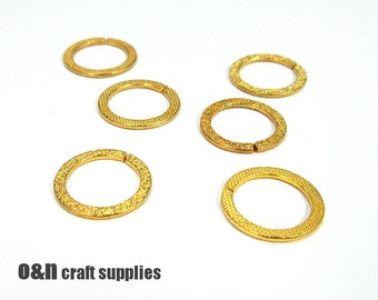 Round 18k gold plated connectors, 21mm  - 4 pieces