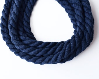 Thick twisted cotton cord, navy blue cotton cord, 10mm navy blue cotton rope, 3ply navy blue cord, 1m