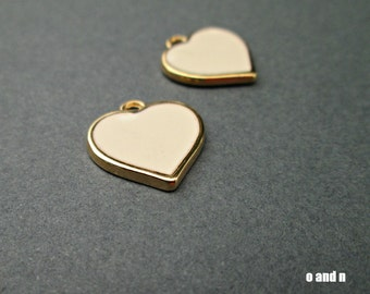 Ivory enamel heart charms, gold plated, 1