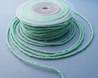 Mint green jute cord, 3mm jute rope, 3ply twisted jute cord, 5 meters