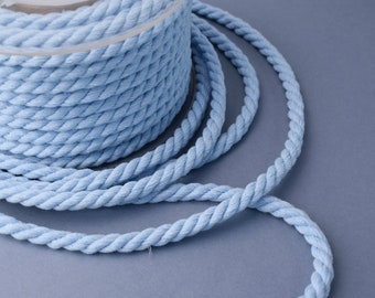 Baby blue cotton cord, 6 mm baby blue twisted cotton rope, baby blue twisted cord, 1 meter
