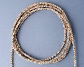 Natural jute cord, 3mm jute rope, 3ply twisted jute cord, 5 meters