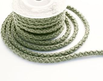 Khaki braided cotton cord, braided cotton rope, knit cotton rope, 12mm khaki cotton rope, 1m