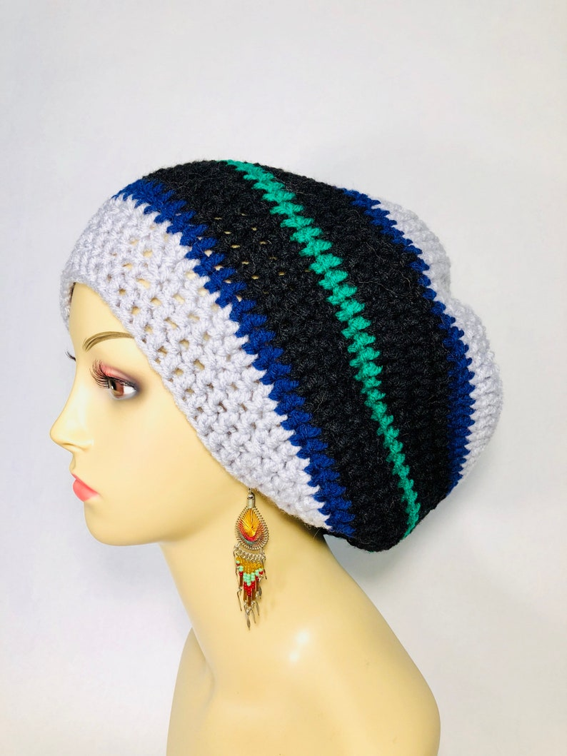 1d9c3c483f5 Striped Crocheted Tam winter hat dreadlocks dread tam