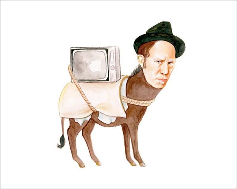 Tom Waits as a donkey watercolor illustration  prints image 0