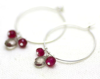 Silver Hoop Earrings with Smoky Quartz and Ruby Gemstones | Minimal, Feminine Jewelry | Gift for Woman | Bridesmaid Gift | Made by Azki