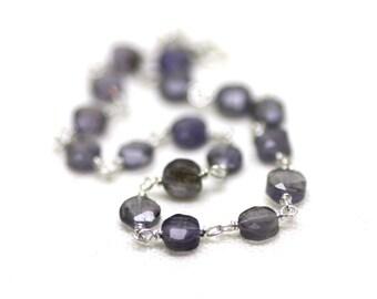 Denim Blue Iolite Gemstone Bracelet Wire Wrapped on Sterling Silver | Natural Semiprecious Stone | Gift for Woman | Artisan Jewelry by Azki