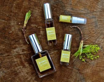 Green Lilac perfume - all natural fresh green floral fragrance - jasmine, lotus, mint, vetiver, and violet leaf