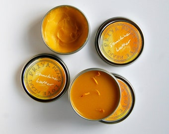 SUNSHINE BUTTER - an organic moisturizing body butter with cheerful citrus herb and blossom aromatics (1/2 oz, 2 oz, 4 oz tin)