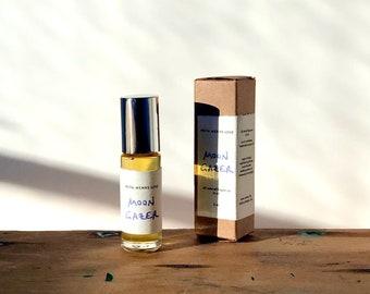 MOON GAZER natural perfume oil - moonlight and night blooming flowers - jasmine orris sandalwood moonflower (5 ml glass roller)