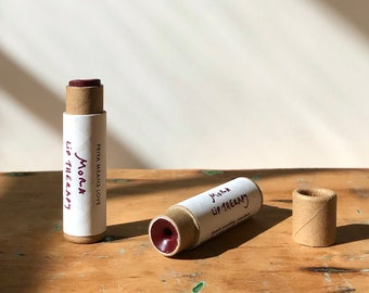 tiny batch MORA LIP THERAPY iron oxide + alkanet root organic lipstick in compostable packaging! (0.15 oz paperboard tube)