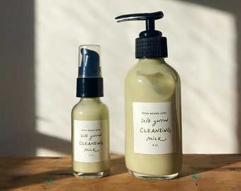 soft yarrow CLEANSING MILK -- a gentle facial cleanser and makeup remover with organic jojoba, yarrow, rosalina, bentonite clay