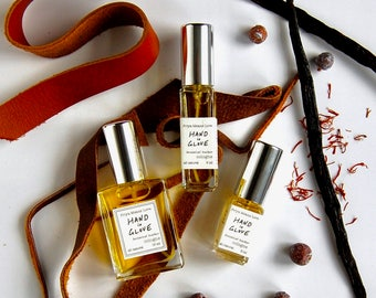 HAND IN GLOVE cologne - russian leather all natural organic fragrance for men women, with saffron, juniper, patchouli, osmanthus