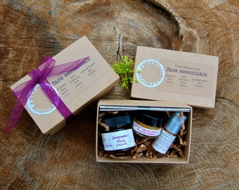 Face Essentials Kit - a gift box filled with small versions of Deep Radiance Face Cream, Lavender Face Scrub, and Pomegranate Eye Serum
