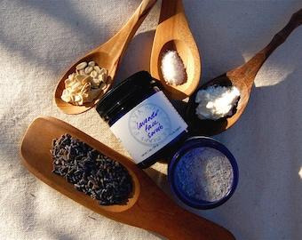 Lavender Face Scrub - a gentle organic facial cleanser and exfoliant rich in alpha-hydroxy acids (1.7 oz glass jar)