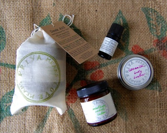 DESK AID - the perfect gift for the office warrior: Mind/Body Relief Balm, Lavanilla Body Butter, and Sweet Mouth Mint Drops