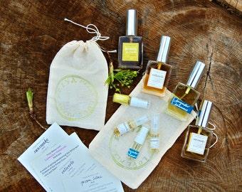 Natural Perfume + Cologne sample set - fresh organic unisex fragrances (1 ml samples in a muslin bag)