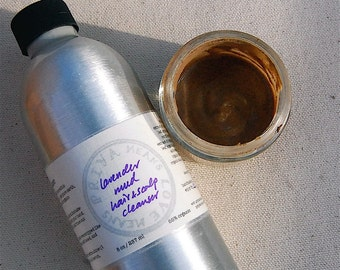Lavender Mud Hair and Scalp Cleanser - a rare, radical completely natural, effective shampoo based on clay (8 oz aluminum bottle)