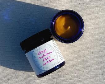 Deep Radiance Face Cream - a luscious organic, truly all-natural facial moisturizer for smooth, lustrous skin (1.7 oz cobalt blue glass jar)