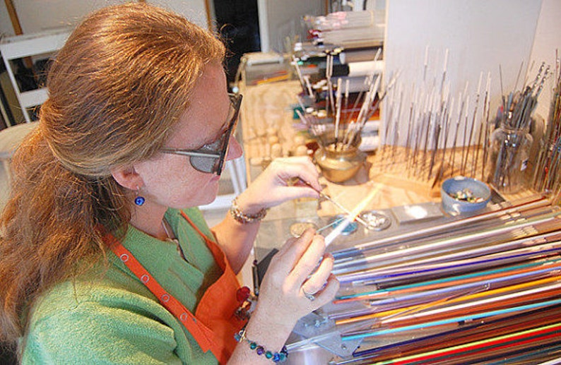 Artisan Artglass Lampwork Bead Set Amber Ivory Turtle Beads Studio Made in Canada Glass Beads Animal Print Flamework Tiger