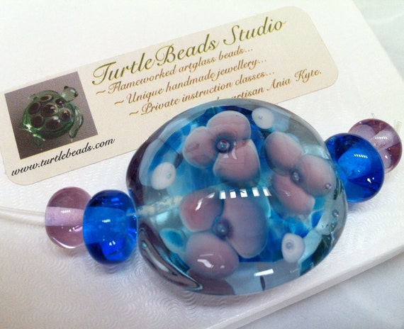 TurtleBeads Studio Sculpture Amethyst Chevron Focal Bead Lampwork Turtle Handmade in Canada Flamework Artglass Artisan Glasswork