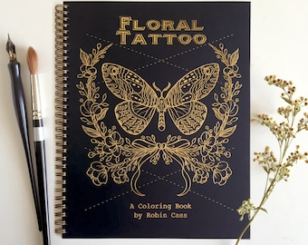 Floral Tattoo - Adult Coloring Book - Botanical Line Drawings - Spiral Bound - Cardstock - 44 Page - High Quality Tattoo Artist Sketchbook