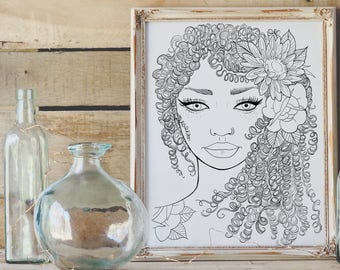 Beautiful Tattooed Lady - Adult Coloring Page- Instant Download PDF- Mindful Coloring - Sunflower and Roses