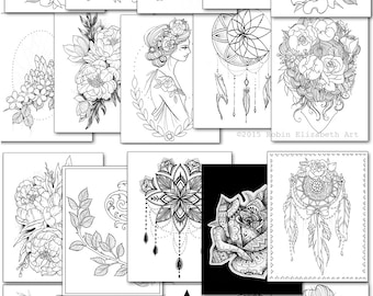 Tattoo coloring book | Etsy