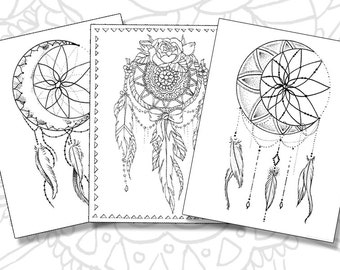 Crescent Moon Dream Catcher Coloring Page Instant Download
