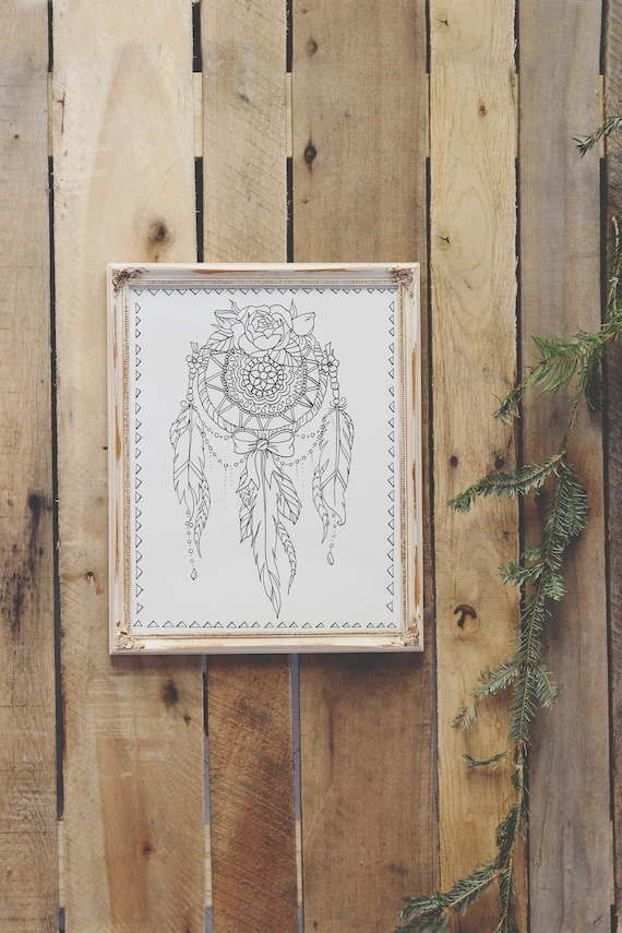 It's just a graphic of Remarkable Printable Adult Coloring Pages Dream Catchers