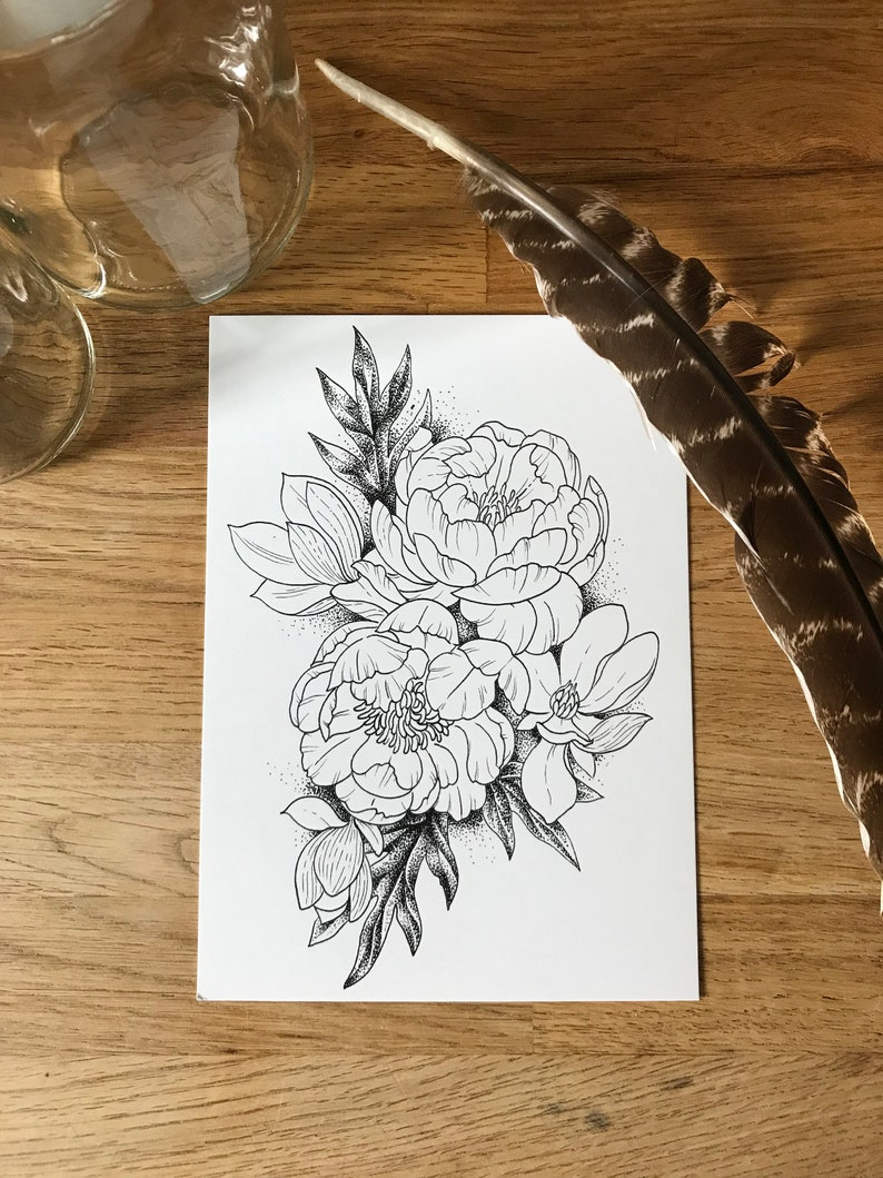 65f2aa4a3 Coloring Post Card Floral Tattoo Adult Coloring Book | Etsy