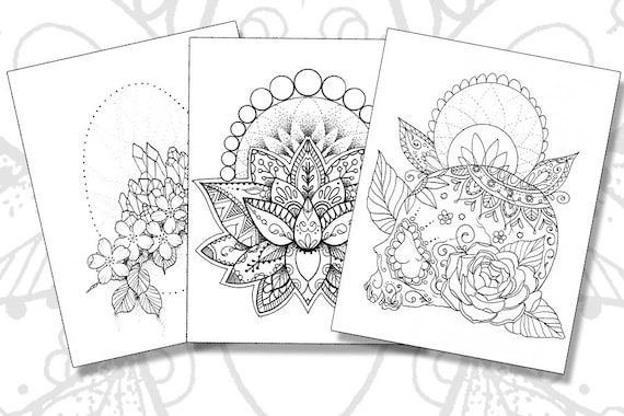 - Tattoo Coloring Pages Set Of 3 Printable PDFs Etsy