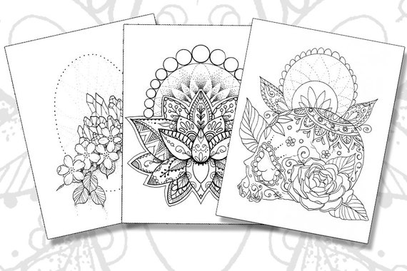 Tattoo Coloring Pages Set Of 3 Printable PDFs Etsy