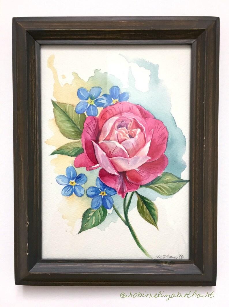 Coloriage Fleur Myosotis.Rose Rose Et Myosotis Aquarelle Originale Etsy