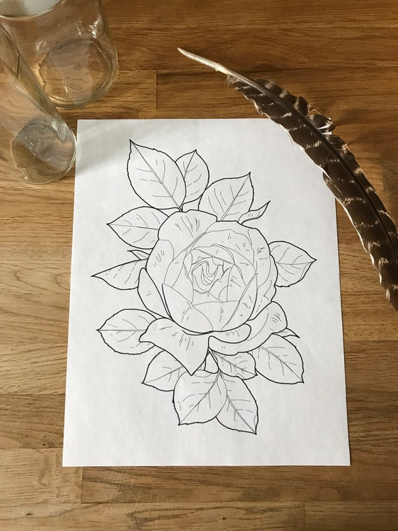 Elegant Rose Coloring Page Instant Download Print Your Own Coloring Pages Adult Coloring Book