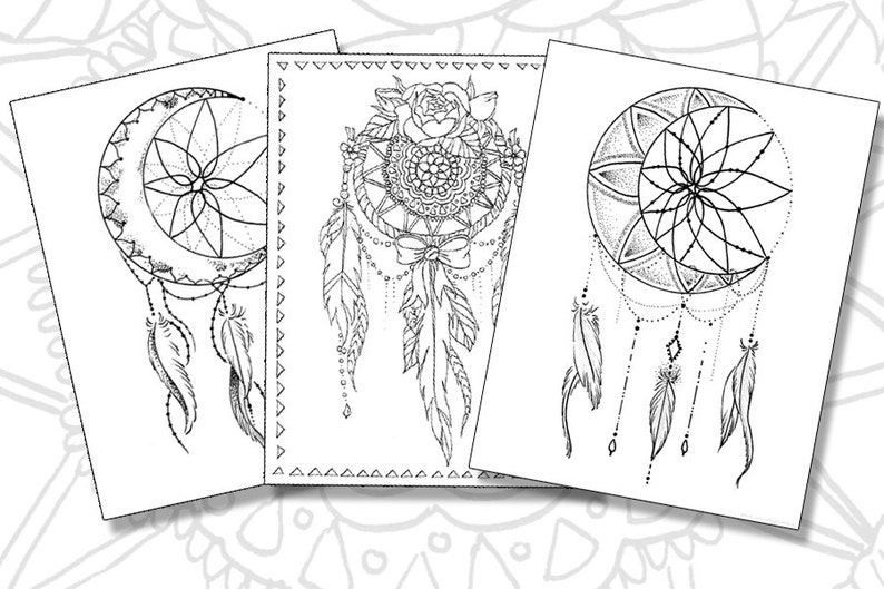 photograph regarding Dream Catcher Printable identified as Desire Catchers Coloring Web pages - Established of 3 Printable PDF data files
