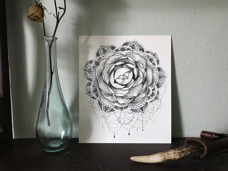 59e4a5334 Camellia Mandala Original Fine Art Pen & Ink Drawing | Etsy