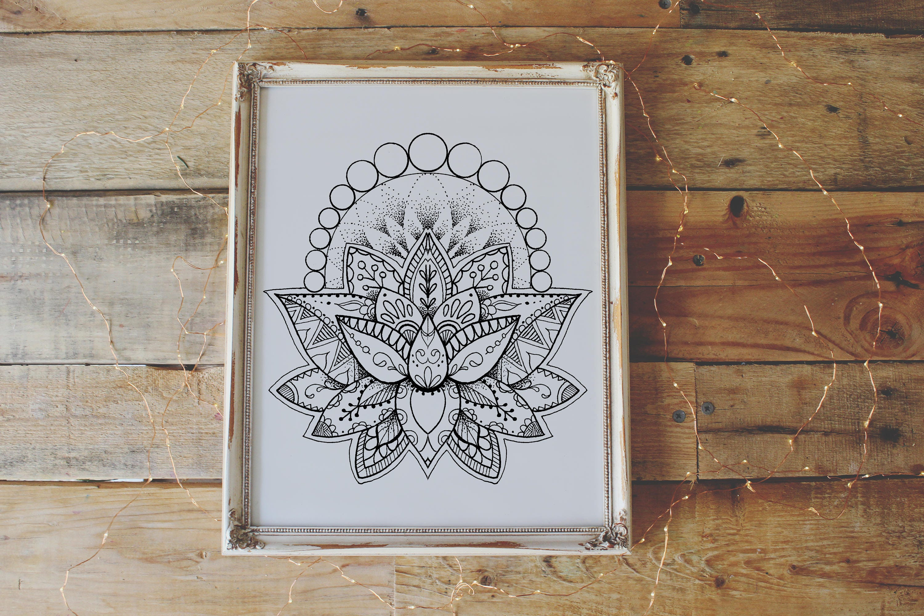 Lotus Flower Coloring Page - Instant Download Print Your Own Coloring Pages Adult Coloring Book