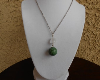 Green Agate and Quartz Necklace
