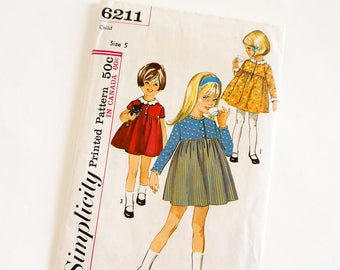 """Vintage 1960s Girls Size 5 One Piece Dress Simplicity Sewing Pattern 6211 FACTORY Folds Sleeve Options High Waist, b23.5 w21.5"""""""