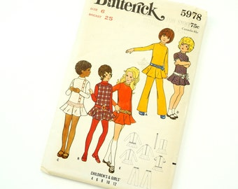 Vintage 1970s Butterick Pattern 5978 / 70s Girls Size 6 Jumper or Dress and Pants / chest 25 waist 22 / Complete