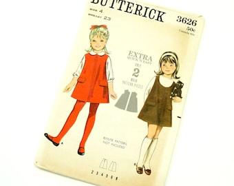 Vintage 1960s Girls Size 4 Jumper Butterick Sewing Pattern 3626 / Complete