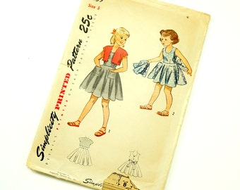 """Vintage 1940s Girls Size 3 One Piece Dress and Scalloped Bolero Simplicity Pattern 2859 Complete, Flared Full Circle Skirt, b22 w20.5"""""""