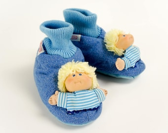 Vintage 1980s Childrens Size 11-12 Cabbage Patch Kids Childs Slippers Like-new
