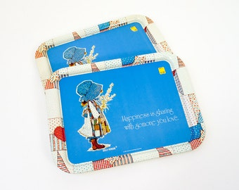 Vintage 1974 American Greeting Holly Hobbie Metal Tray NOS 3 Available, Happiness is Sharing with Someone You Love, Doll Collectible