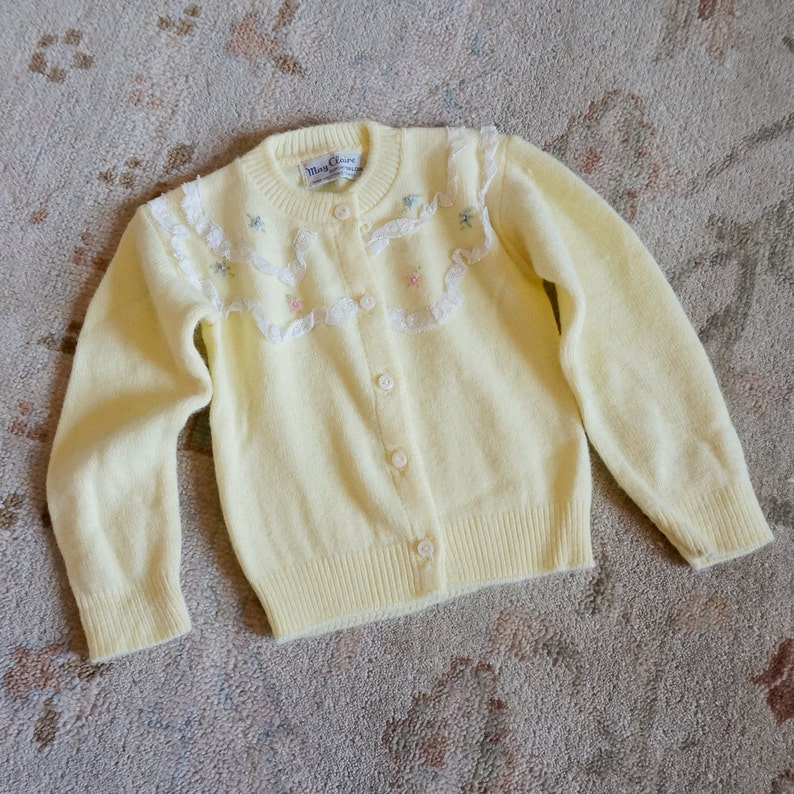 5453f87a7 Vintage 1960s Baby Size 3-6M Sweater May Claire Pale Yellow