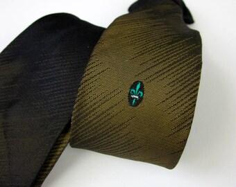 """Vintage 1980s Boys Necktie / 80s Does 50s Boys Redi-Snap 14.5"""" Clip-On Tie / Ombre Moss Green Black, Fleur-de-lis"""