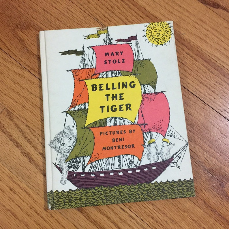 Vintage 1960s Childrens Book, Belling the Tiger 1961 Hc Mary Stolz Newbery  Award, Cat Mouse Story, Childrens Fiction Picture Book