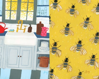 A4 Art print Kitchen by the window & buzzing bees