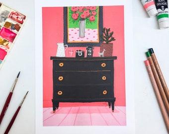 A4 Art Print Pink wall & black chest
